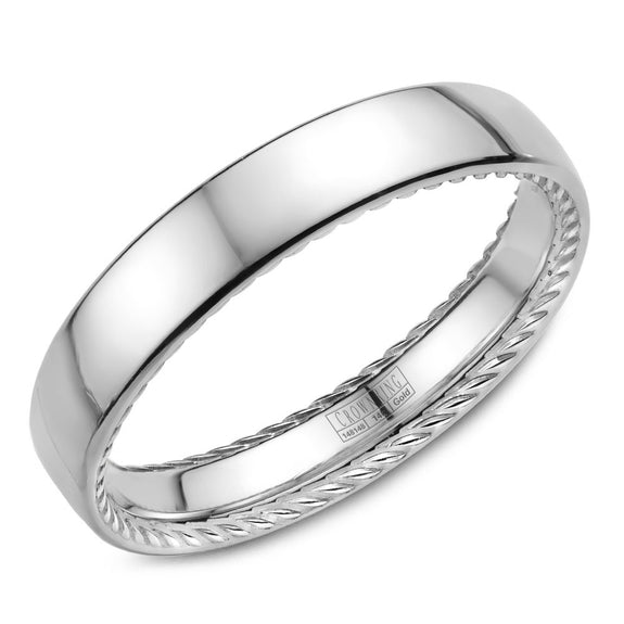 CrownRing Rope Collection 2.5MM Wedding Band with Polished Center WB-012R25W