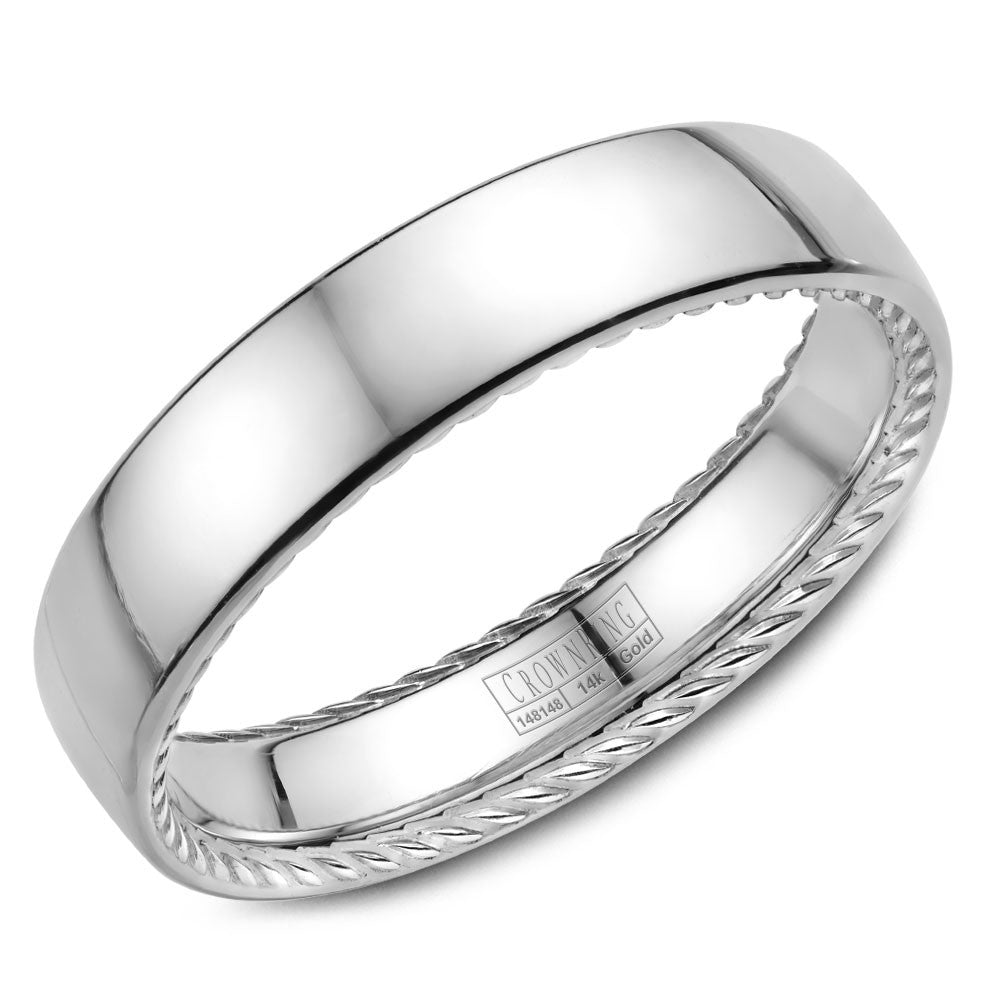 CrownRing Rope Collection 5MM Wedding Band with Brushed Center WB-012R5WSP