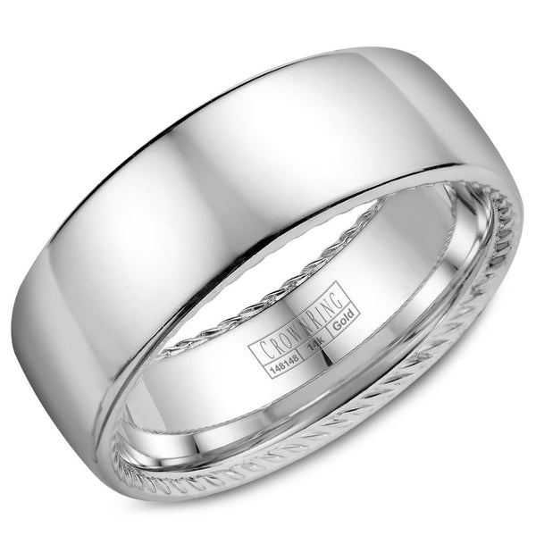 CrownRing Rope Collection 8MM Wedding Band with Polished Finish WB-012R8W