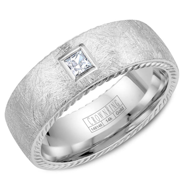 CrownRing Rope Collection 8MM Diamond Princess Cut Wedding Band with Diamond Brushed Cut WB-013RD8W