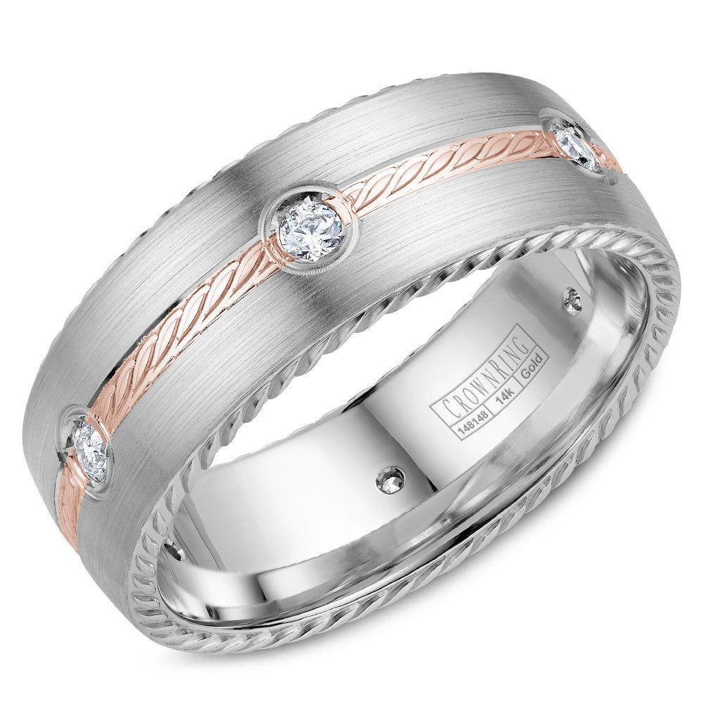 CrownRing Rope Collection 8MM 6 Round Cut Diamond Wedding Band with Rose Gold Detailing WB-014RD8RW