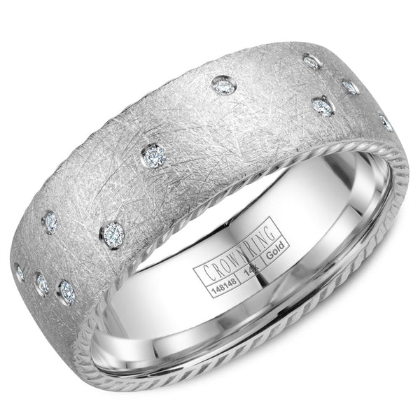 CrownRing Rope Collection 8MM 21 Round Diamond with Textured Finish Wedding Band WB-020RD8W