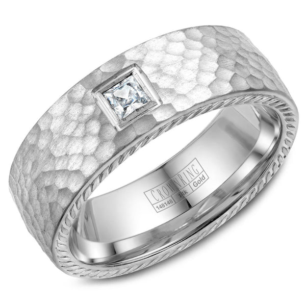 CrownRing Rope Collection 8MM  Princess Cut Diamond Wedding Band with Hammered Finish WB-021RD8W
