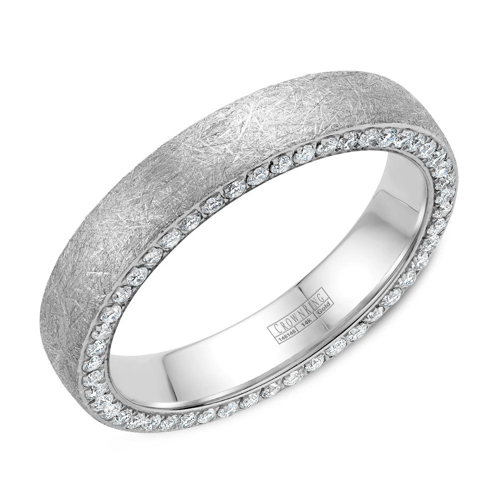 CrownRing Diamond Collection 4MM Wedding Band with 118 Round Diamond and Diamond Brushed Finish WB-022D4W