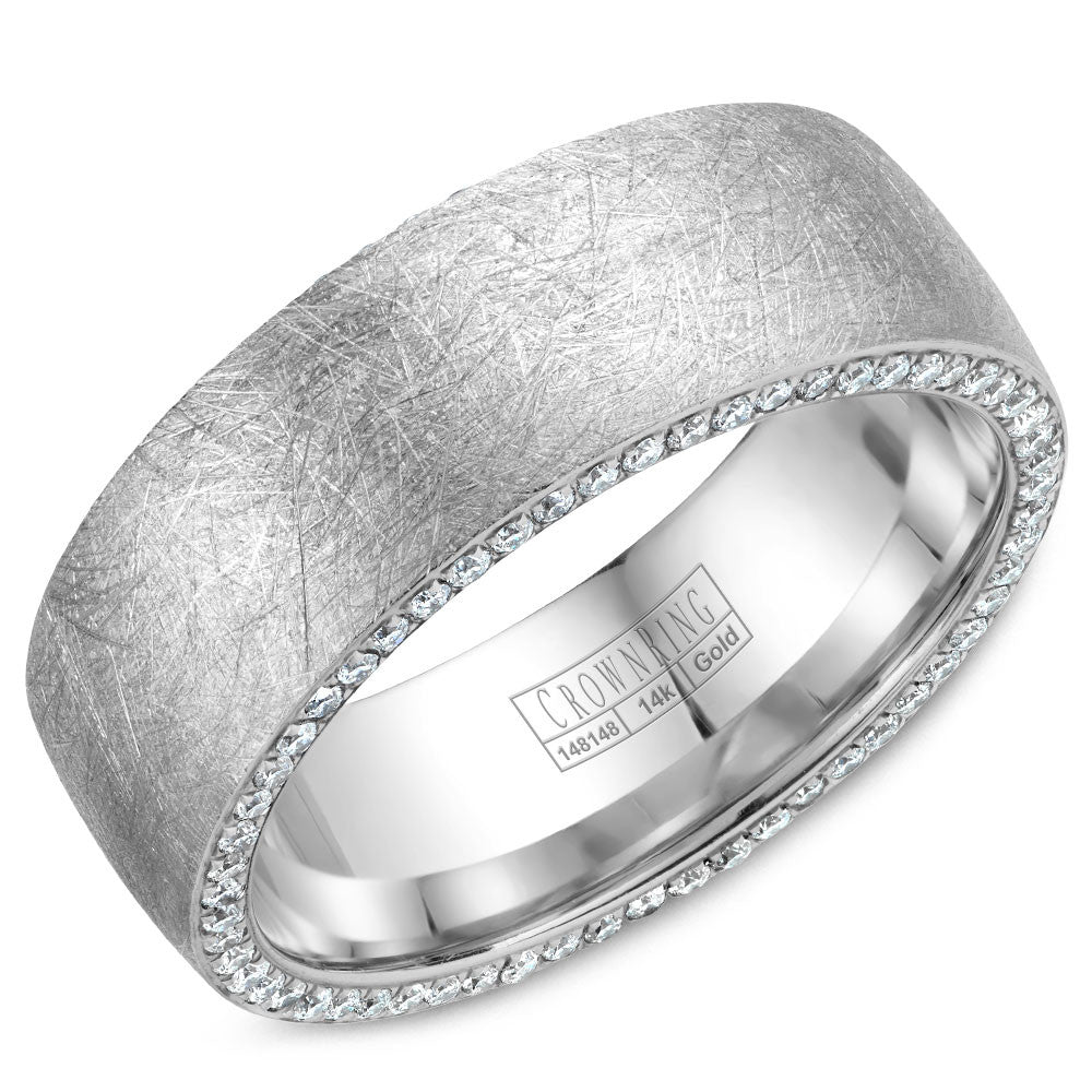 CrownRing Diamond Collection 8MM Wedding Band with 118 Round Diamonds and Diamond Brushed Finish WB-022D8W