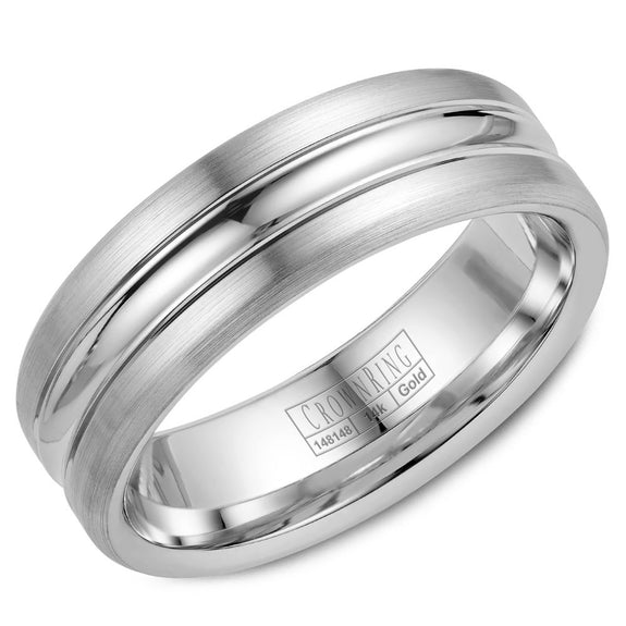 CrownRing Carved Collection 7MM Wedding Band with Polished Center WB-023C7W