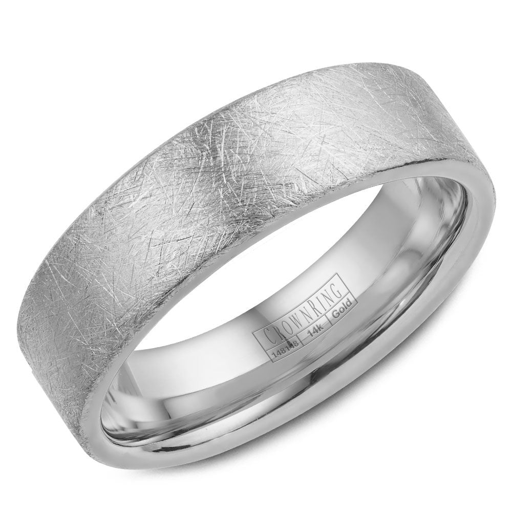 CrownRing Classic Collection 6MM Wedding Band with Brushed Center WB-025C6W