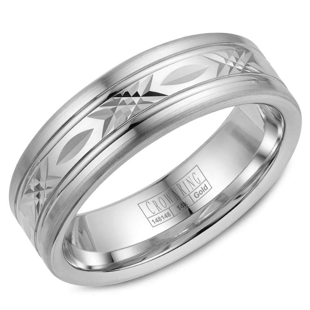 CrownRing Carved Collection 7MM Wedding Band with Pattern Center WB-026C7W