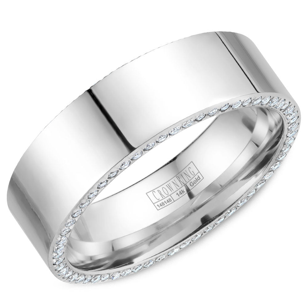 CrownRing Diamond Collection 7.5MM Wedding Band with 118 Round Diamonds and Polished Finish WB-033D75W