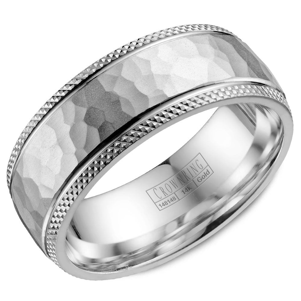 CrownRing Carved Collection 8MM Wedding Band with Hammered Finish WB-035C8W