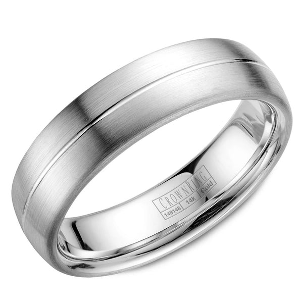 CrownRing Carved Collection 6MM Wedding Band with Brushed Finish WB-037C6W