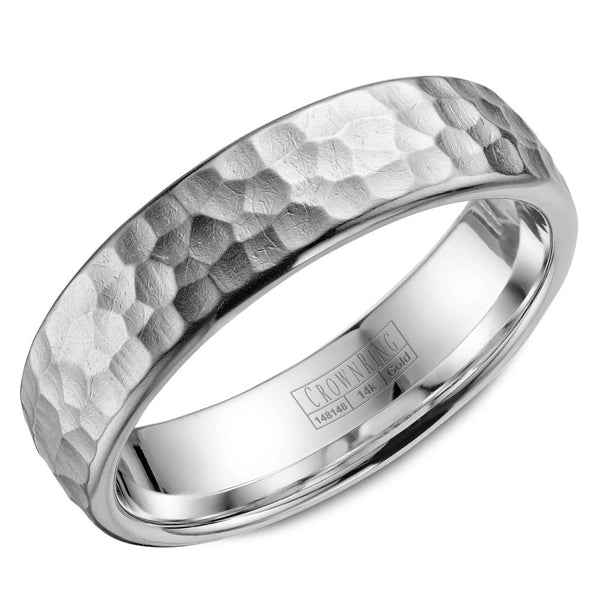 CrownRing Carved Collection 6MM Wedding Band with Hammered Finish WB-038C6W