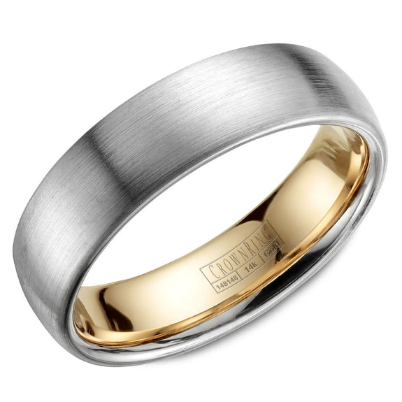 CrownRing Carved Collection 6MM Wedding Band with Brushed Finish and Yellow Gold Lining WB-039C6WY