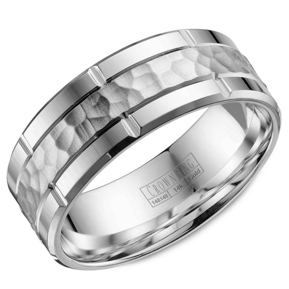 CrownRing Carved Collection 8MM Wedding Band with Hammered Finish and Line Detailing WB-040C8W
