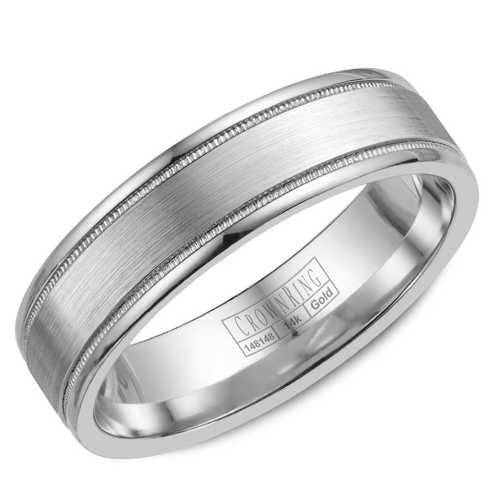 CrownRing Classic Collection 6MM Wedding Band with Miligrain Detailing WB-6901SP