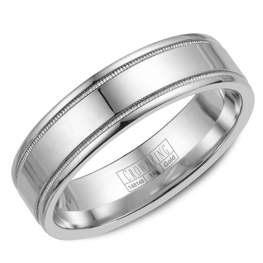 CrownRing Classic Collection 6MM Wedding Band with Miligrain Detailing WB-6901