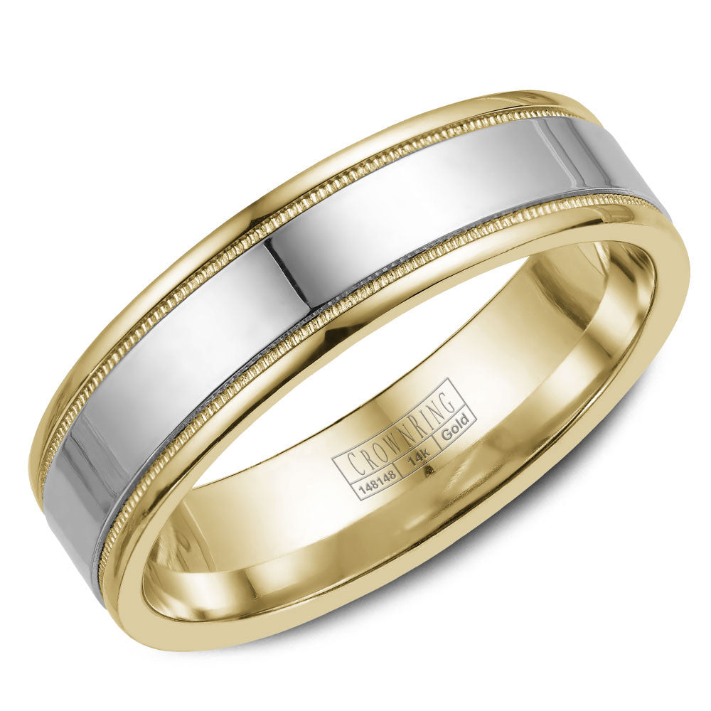 CrownRing Classic Collection 6MM Wedding Band with Milgrain Detailing WB-6912