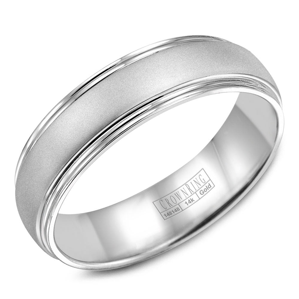 CrownRing Classic Collection 6MM Wedding Band with Sandblast Center WB-6921