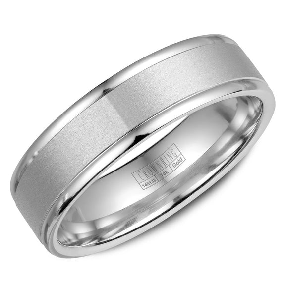 CrownRing Classic Collection 6MM Wedding Band with Sandblast Center WB-6925