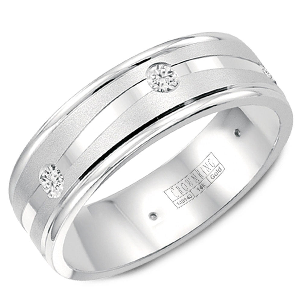 CrownRing Diamond Collection 6MM Wedding Band with 6 Round Diamonds and Sandblast Center WB-6999