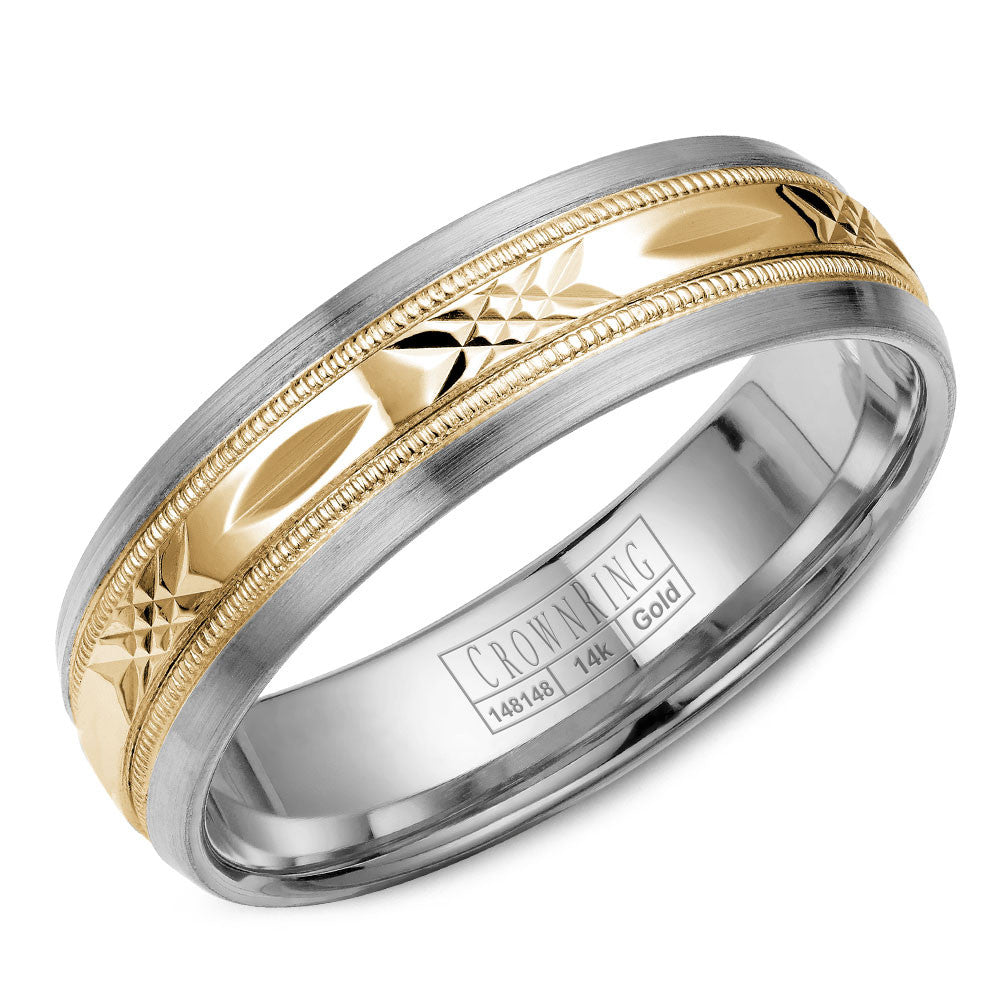 CrownRing Carved Collection 6MM Wedding Band with Pattern Center WB-7000YW