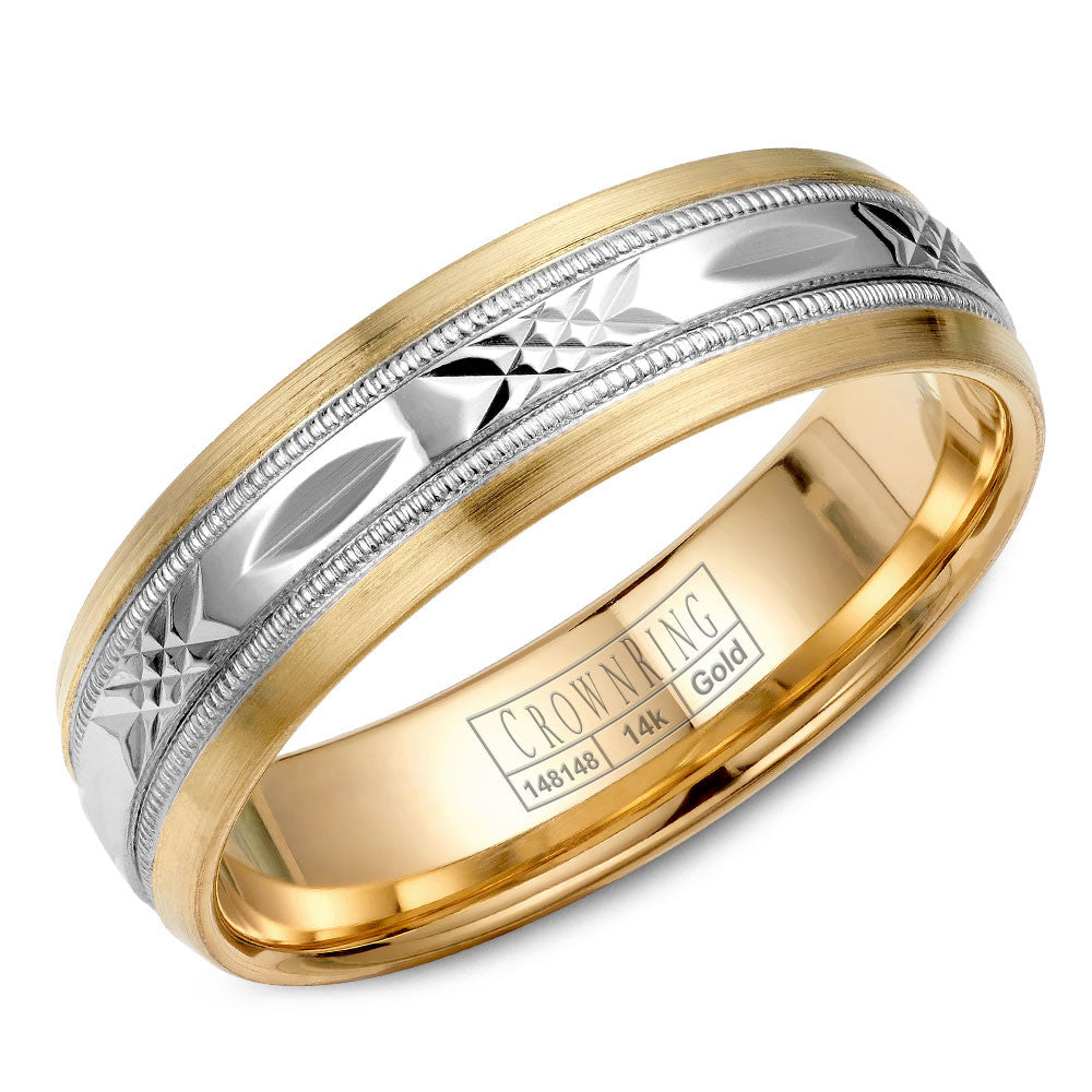 CrownRing Carved Collection 6MM Wedding Band with Pattern Center WB-7000