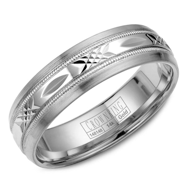 CrownRing Carved Collection 6MM Wedding Band with Pattern Center and Milgrain Detailing WB-7002