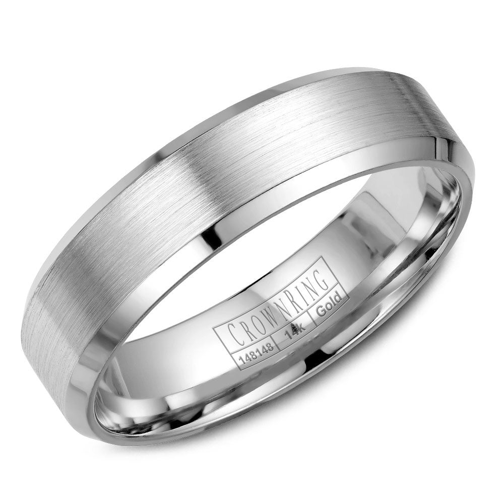 CrownRing Classic Collection 6MM Wedding Band with Brushed Center WB-7007