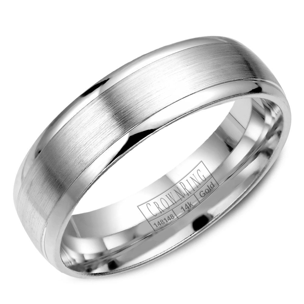CrownRing Classic Collection 6MM Wedding Band with Brushed Center WB-7019