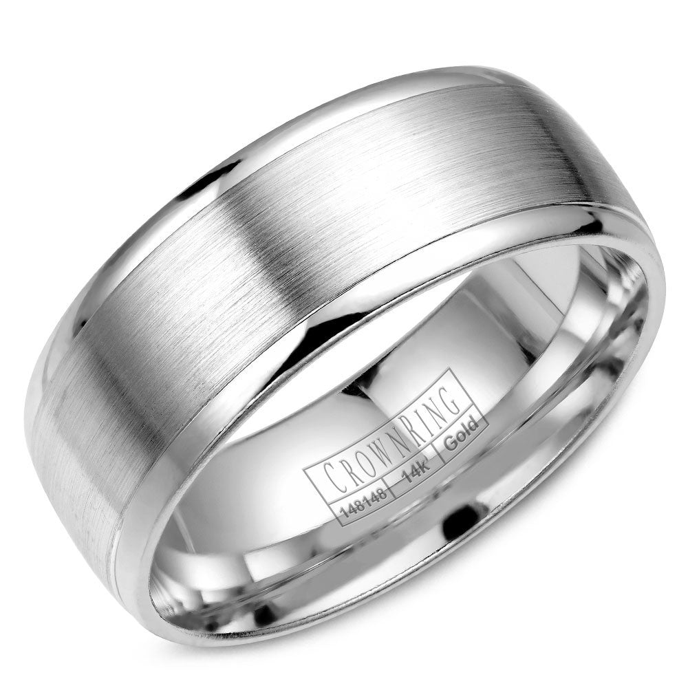 CrownRing Classic Collection 8MM Wedding Band with Brushed Center WB-7023