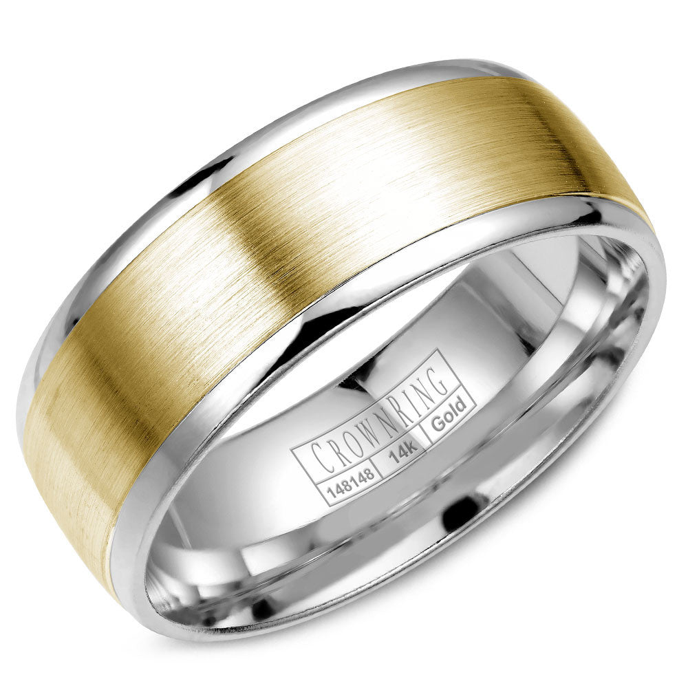 CrownRing Classic Collection 8MM Wedding Band with Brushed Center WB-7068