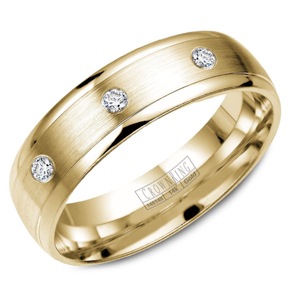 CrownRing Diamond Collection 6MM Wedding Band with 8 Round Diamonds and Brushed Finish WB-7096Y