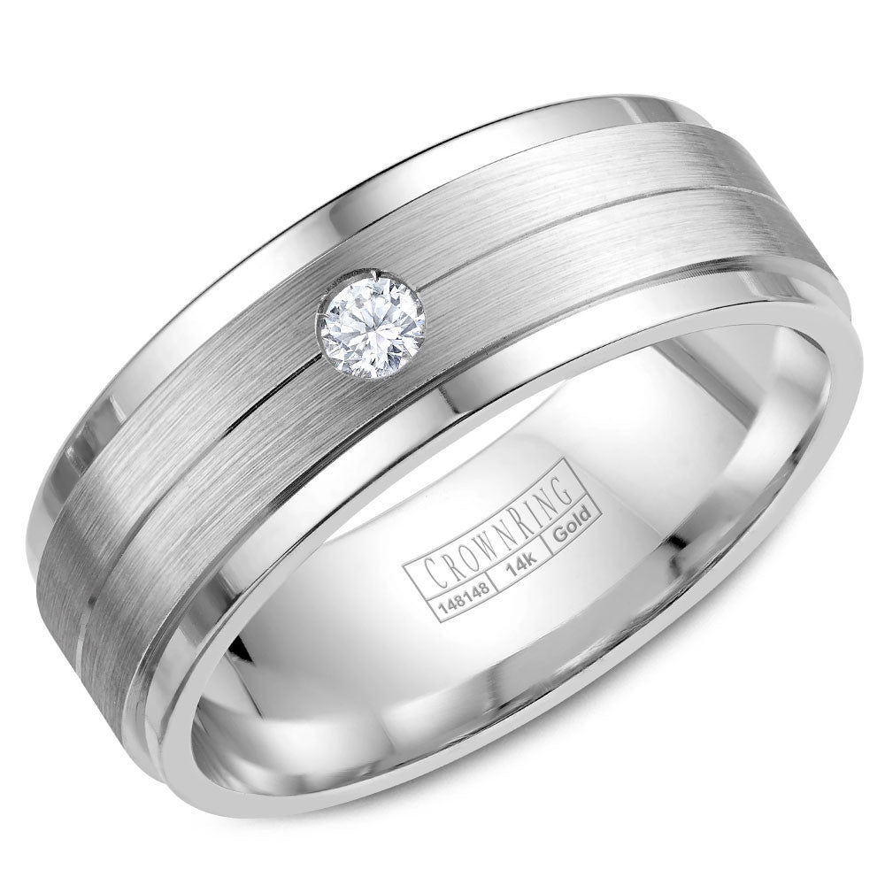 CrownRing Diamond Collection 8MM Wedding Band with 1 Round Diamonds and Brushed Center WB-7108SP