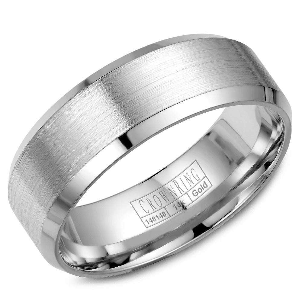 CrownRing Classic Collection 8MM Wedding Band with Sandpaper Finish WB-7131