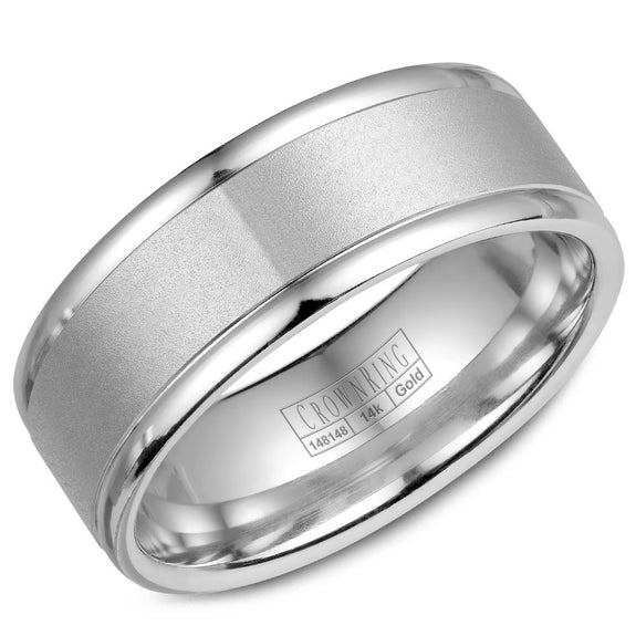 CrownRing Classic Collection 8MM Wedding Band with Sandblast Center WB-7134