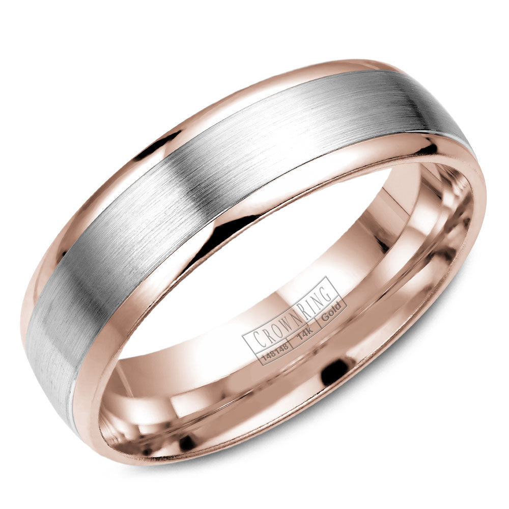 CrownRing Classic Collection 6MM Wedding Band with Brushed Center WB-7141WR