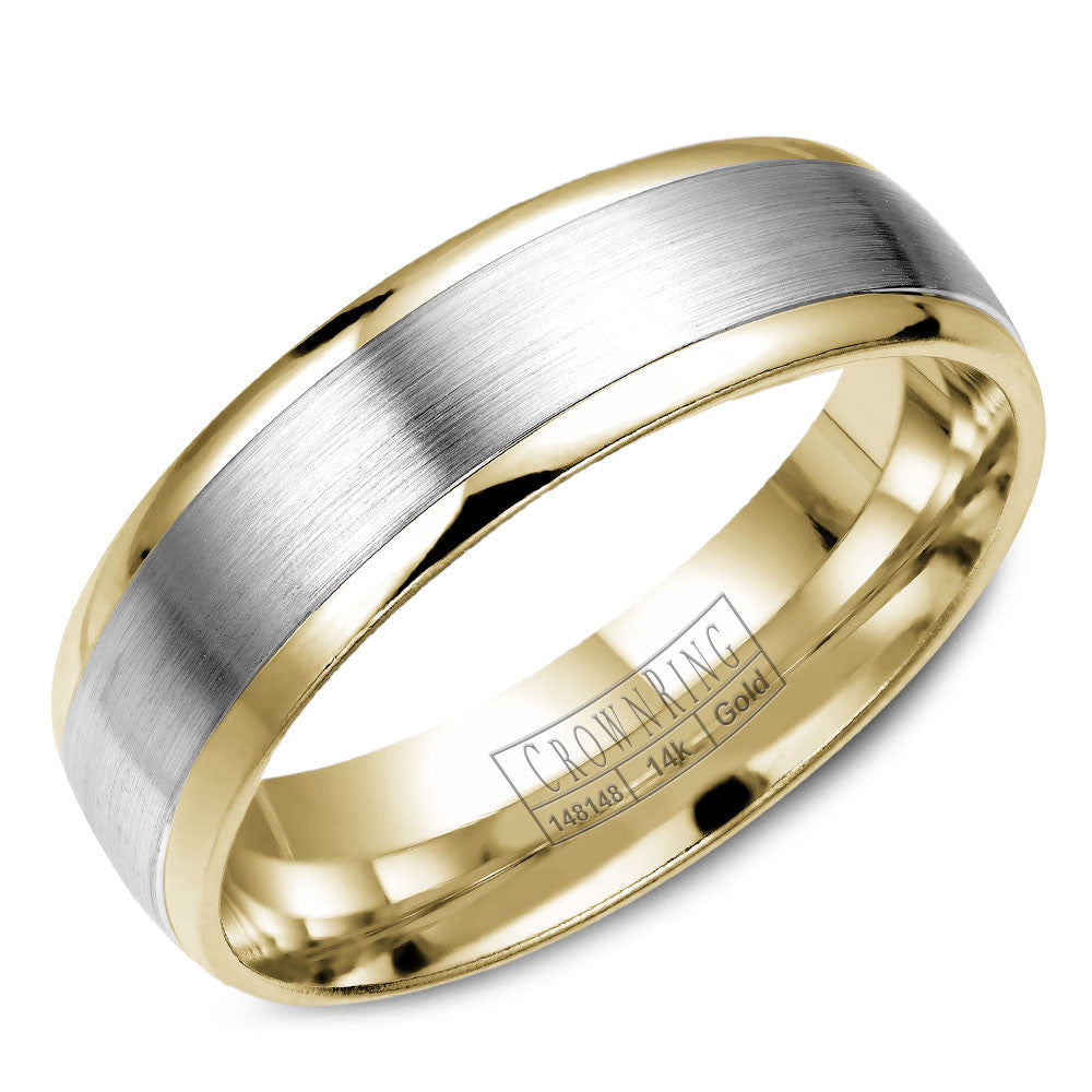 CrownRing Classic Collection 6MM Wedding Band with Brushed Center WB-7141