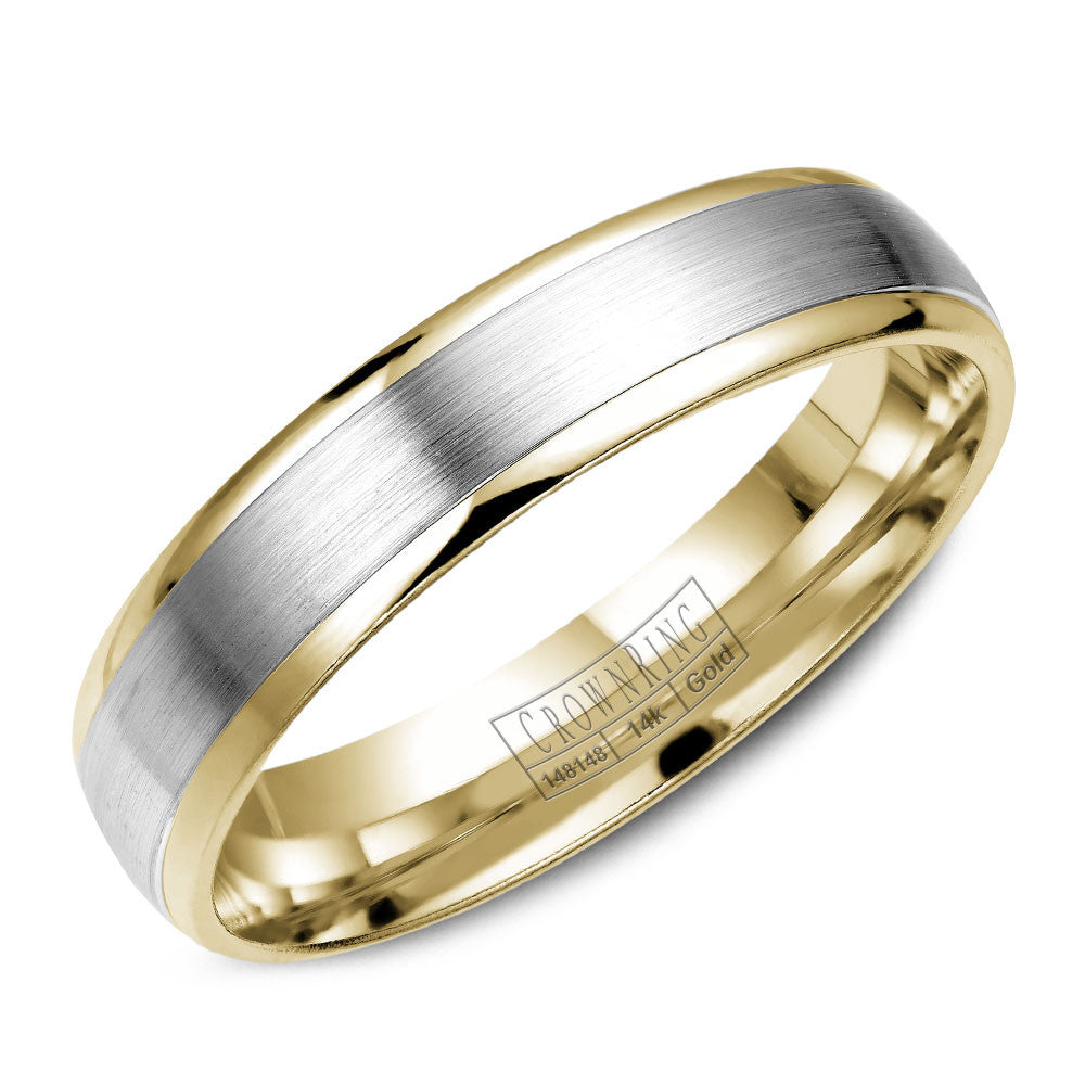 CrownRing Classic Collection 5MM Wedding Band with Brushed Center WB-7145