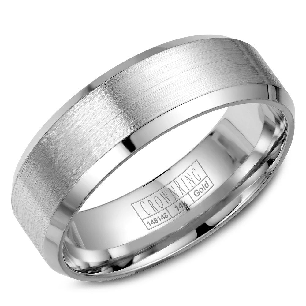 CrownRing Classic Collection 7MM Wedding Band with Brushed Center WB-7146