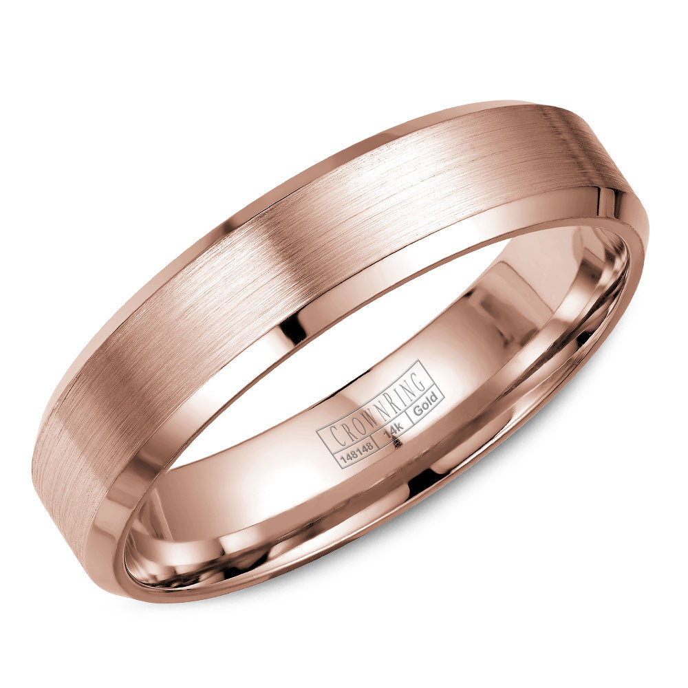 CrownRing Classic Collection 4MM Wedding Band with Brushed Center WB-7216R