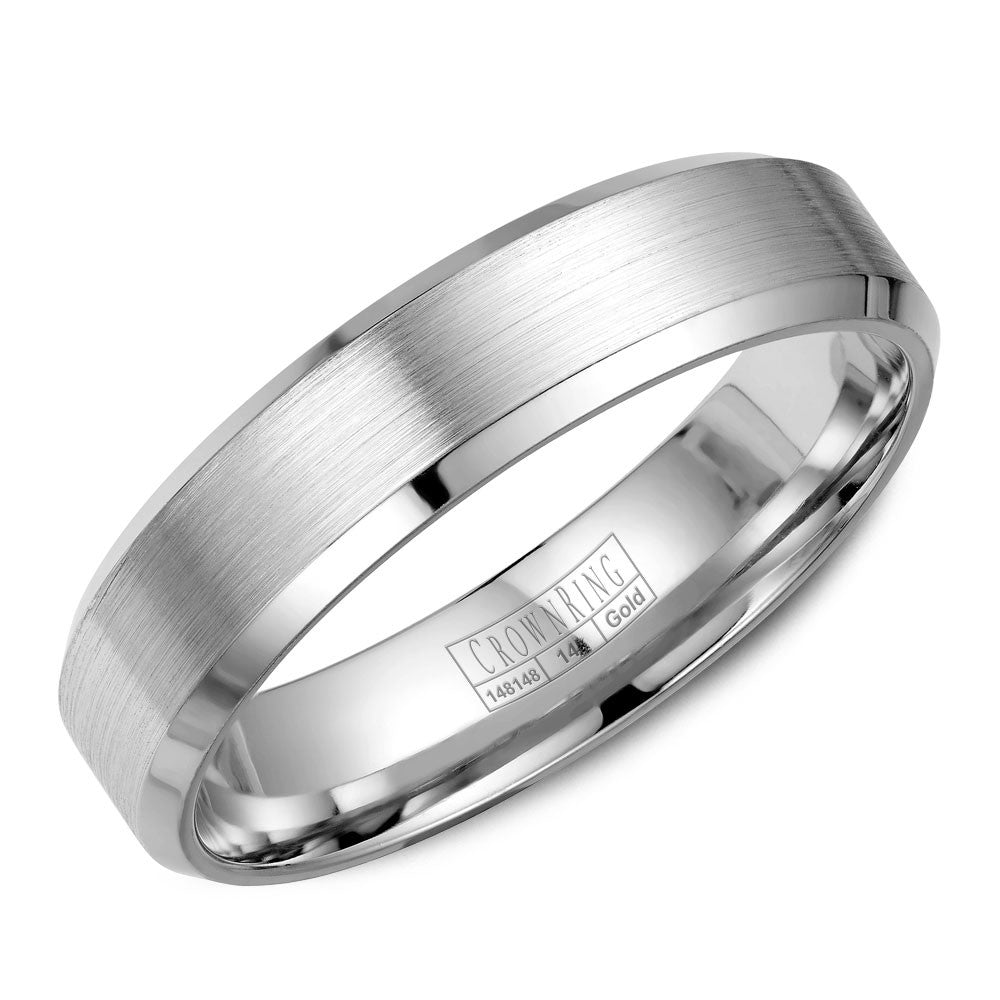 CrownRing Classic Collection 4MM Wedding Band with Brushed Center WB-7216