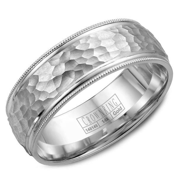 CrownRing Carved Collection 7.5MM Wedding Band with Hammered Finish and Miligrain Detailing WB-7914