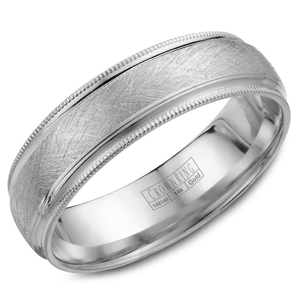 CrownRing Carved Collection 6MM Wedding Band with Textured Finish and Miligrain Detailing WB-7915W