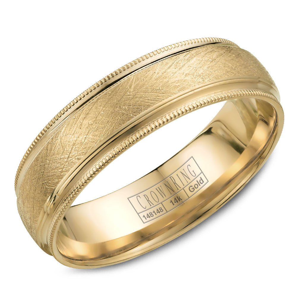CrownRing Classic Collection 6MM Wedding Band with Textured Finish and Migraine Detailing WB-7915