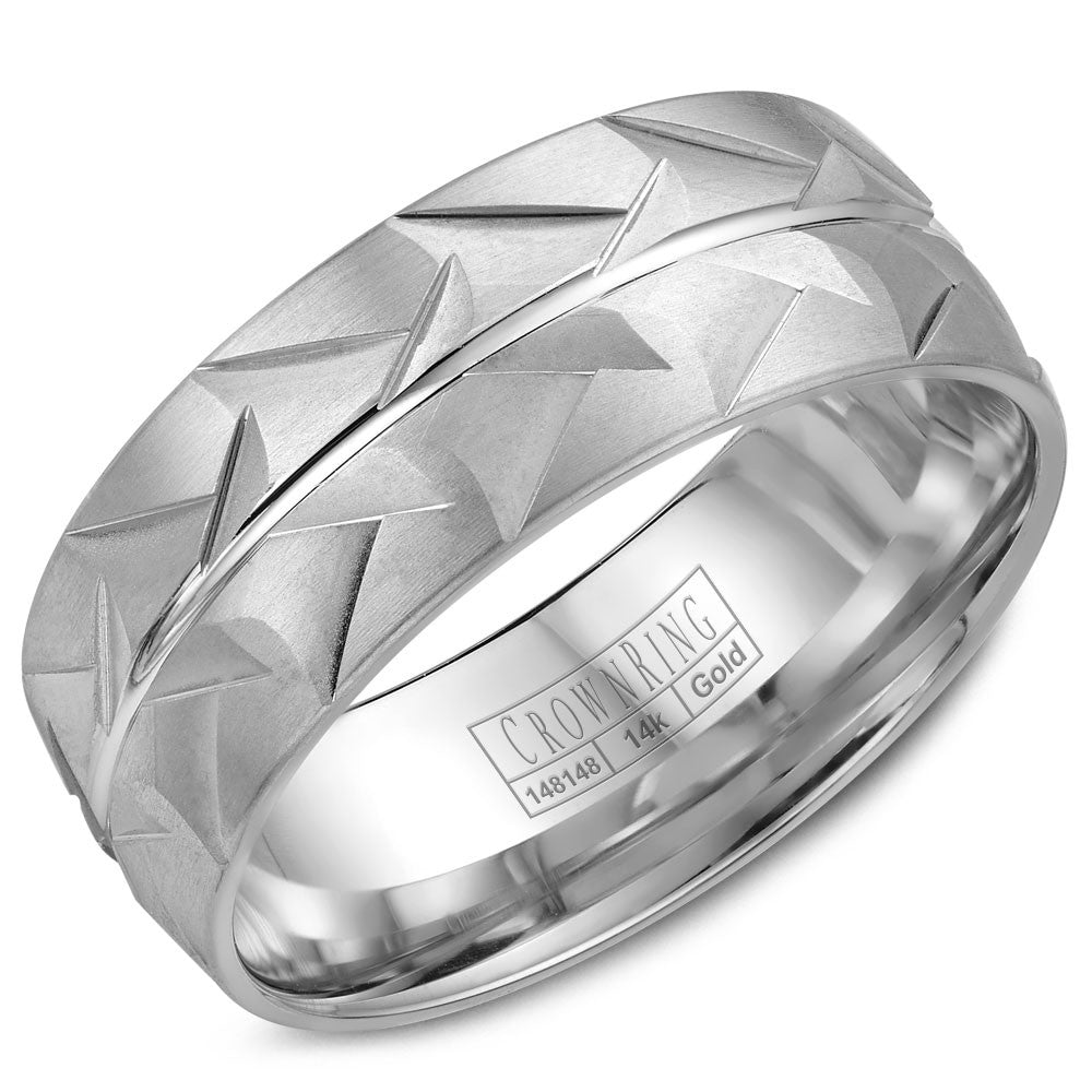 CrownRing Carved Collection 8MM Wedding Band with Patterned Center and Line Detailing WB-7916