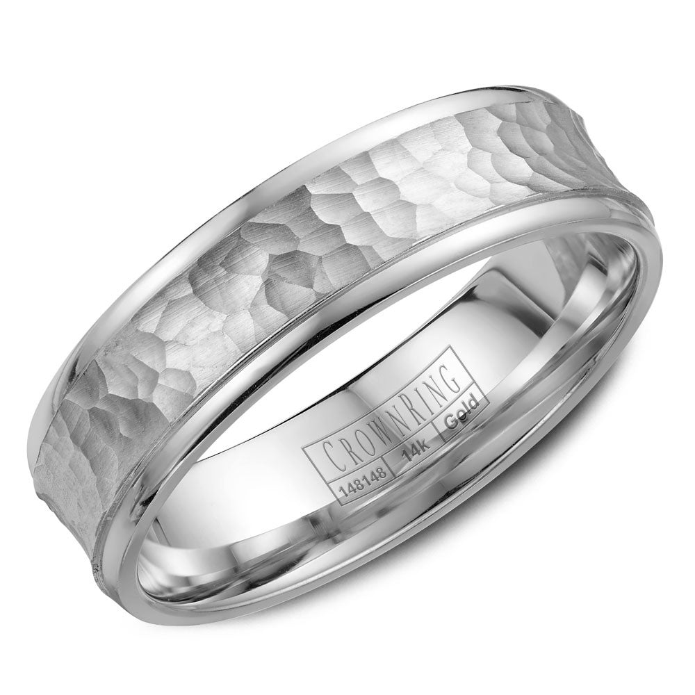 CrownRing Carved Collection 6MM Wedding Band with Textured Center WB-7918