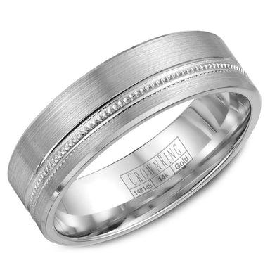 CrownRing Carved Collection 6.5MM Wedding Band with Brushed Center and Milgrain Detailing WB-7919