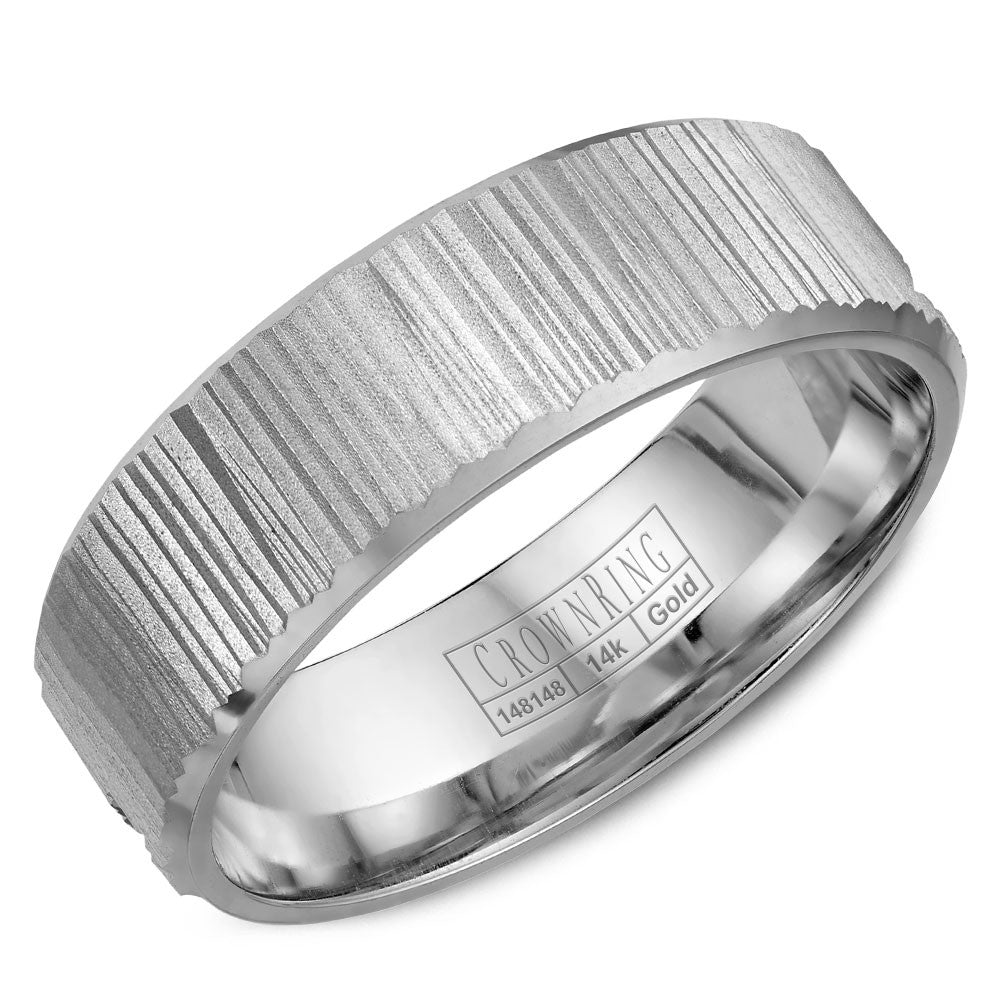 CrownRing Carved Collection 6MM Wedding Band with Bark Finish WB-7920