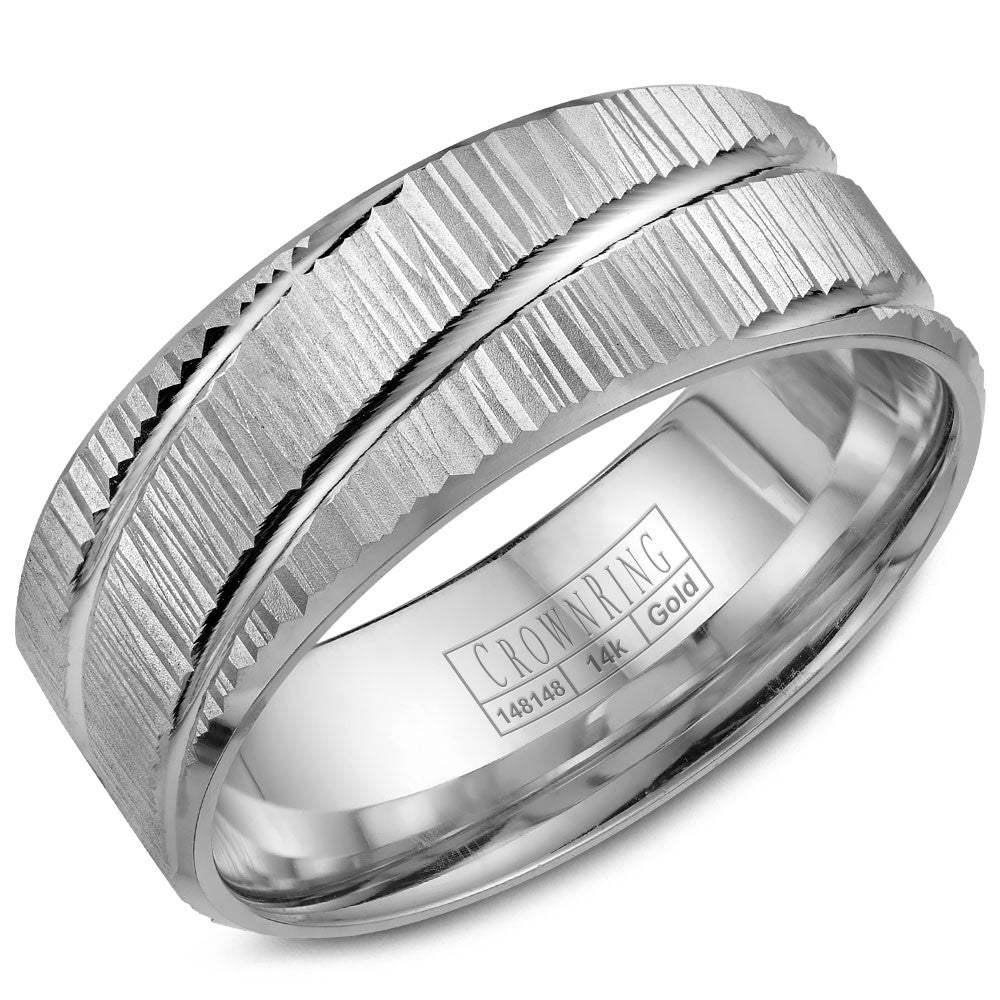 CrownRing Carved Collection 8MM Wedding Band with Bark Finish and Line Detailing WB-7922