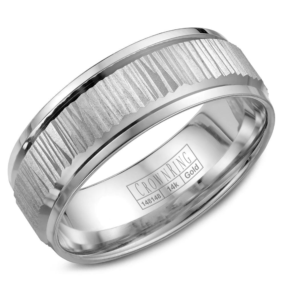 CrownRing Carved Collection 7.5MM Wedding Band with Bark Finish and Line Detailing WB-7923